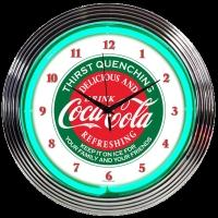 "Coca-Cola Evergreen Neon Clock 15"" – Guaranteed bright and brilliant neon color! Quality neon clocks and neon wall clocks for less. Full 1-5 year no hassle warranty."