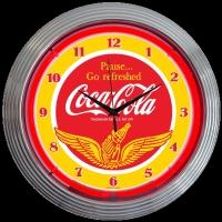 "Coca-Cola Wing Neon Clock 15"" – Guaranteed bright and brilliant neon color! Quality neon clocks and neon wall clocks for less. Full 1-5 year no hassle warranty."