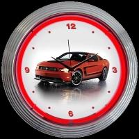 "Mustang Boss 302 Neon Clock 15"" – Guaranteed bright and brilliant neon color! Quality neon clocks and neon wall clocks for less. Full 1-5 year no hassle warranty."