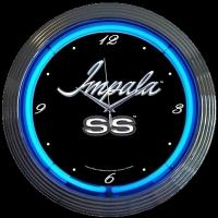 "Chevy Impala SS Neon Clock 15"" – Guaranteed bright and brilliant neon color! Quality neon clocks and neon wall clocks for less. Full 1-5 year no hassle warranty."