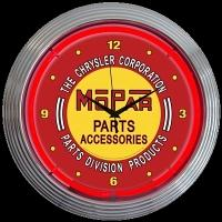 "Mopar Red Vintage Neon Clock 15"" – Guaranteed bright and brilliant neon color! Quality neon clocks and neon wall clocks for less. Full 1-5 year no hassle warranty."