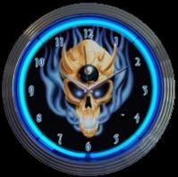 "8 Ball Demon Skull Clock 15"" – Guaranteed bright and brilliant neon color! Quality neon clocks and neon wall clocks for less. Full 1-5 year no hassle warranty."