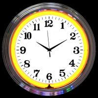 "Chrome Orange Neon Clock 15"" – Guaranteed bright and brilliant neon color! Quality neon clocks and neon wall clocks for less. Full 1-5 year no hassle warranty."