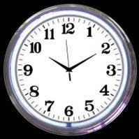 "Chrome White Neon Clock 15"" – Guaranteed bright and brilliant neon color! Quality neon clocks and neon wall clocks for less. Full 1-5 year no hassle warranty."