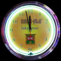 "Rock-Ola Jukeboxes Neon Clock 15"" – Guaranteed bright and brilliant neon color! Quality neon clocks and neon wall clocks for less. Full 1-5 year no hassle warranty."