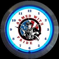 "Armed With Pride Neon Clock 15"" – Guaranteed bright and brilliant neon color! Quality neon clocks and neon wall clocks for less. Full 1-5 year no hassle warranty."