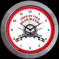 "Cold Dead Hands Neon Clock 15"" – Guaranteed bright and brilliant neon color! Quality neon clocks and neon wall clocks for less. Full 1-5 year no hassle warranty."