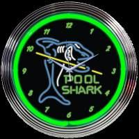 "Pool Shark Neon Clock 15"" – Guaranteed bright and brilliant neon color! Quality neon clocks and neon wall clocks for less. Full 1-5 year no hassle warranty."