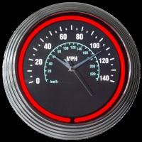 "Speedometer Neon Clock 15"" – Guaranteed bright and brilliant neon color! Quality neon clocks and neon wall clocks for less. Full 1-5 year no hassle warranty."