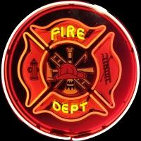 Fire Department Neon Sign – Guaranteed bright and brilliant neon business signs! Our neon business signs feature quality ½ diameter neon glass tubing and whisper quiet UL listed neon business sign transformer. Full 1-5 year no hassle warranty.