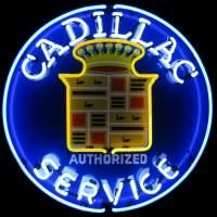 Cadillac Service Neon Sign – Guaranteed bright and brilliant neon business signs! Our neon business signs feature quality ½ diameter neon glass tubing and whisper quiet UL listed neon business sign transformer. Full 1-5 year no hassle warranty.