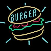 Burger Neon Sign – Guaranteed bright and brilliant neon business signs! Our neon business signs feature quality ½ diameter neon glass tubing and whisper quiet UL listed neon business sign transformer. Full 1-5 year no hassle warranty.