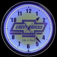 "Chevy Trucks Neon Clock 20"" – Guaranteed bright and brilliant neon color! Quality neon clocks and neon wall clocks for less. Full 1-5 year no hassle warranty."
