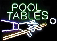 Pool Tables Hand & Cue Neon Sign