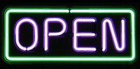"24"" Neon Open Sign Green/Purple - Best prices and lighted open sign selection from iLoveNeon.com"