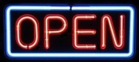 "24"" Neon Open Sign SPECIAL PRICE – Guaranteed bright and brilliant neon business signs! Our neon business signs feature quality ½ diameter neon glass tubing and whisper quiet UL listed neon business sign transformer. Full 1-5 year no hassle warranty."