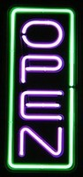 "24"" Neon Open Vertical Green/Purple – Guaranteed bright and brilliant neon business signs! Our neon business signs feature quality ½ diameter neon glass tubing and whisper quiet UL listed neon business sign transformer. Full 1-5 year no hassle warranty."