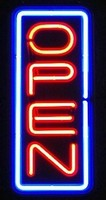 "24"" Neon Open Vertical Blue/Red – Guaranteed bright and brilliant neon business signs! Our neon business signs feature quality ½ diameter neon glass tubing and whisper quiet UL listed neon business sign transformer. Full 1-5 year no hassle warranty."