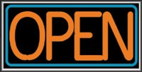 LIGHTBOX Open Sign Orange/Blue