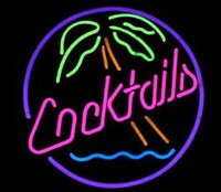 Cocktails Palm Circle Neon Sign – Guaranteed bright and brilliant neon business signs! Our neon business signs feature quality ½ diameter neon glass tubing and whisper quiet UL listed neon business sign transformer. Full 1-5 year no hassle warranty.