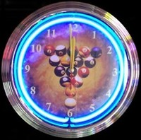 "Billiard Rack Neon Clock 14.5"" – Guaranteed bright and brilliant neon color! Quality neon clocks and neon wall clocks for less. Full 1-5 year no hassle warranty."