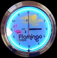 "Flamingo Diner Neon Clock 14.5"" – Guaranteed bright and brilliant neon color! Quality neon clocks and neon wall clocks for less. Full 1-5 year no hassle warranty."