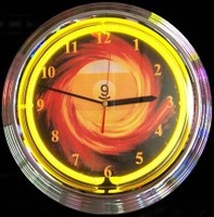 "9 Ball Fire Neon Clock 14.5"" – Guaranteed bright and brilliant neon color! Quality neon clocks and neon wall clocks for less. Full 1-5 year no hassle warranty."