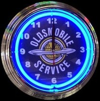 "Oldsmobile Service Neon Clock 14.5"" – Guaranteed bright and brilliant neon color! Quality neon clocks and neon wall clocks for less. Full 1-5 year no hassle warranty."