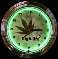 "Pot Leaf High Life Neon Clock 14.5"" – Guaranteed bright and brilliant neon color! Quality neon clocks and neon wall clocks for less. Full 1-5 year no hassle warranty."