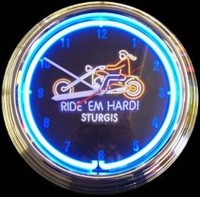 "Sturgis Ride 'em Hard Clock 14.5"" – Guaranteed bright and brilliant neon color! Quality neon clocks and neon wall clocks for less. Full 1-5 year no hassle warranty."