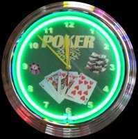 "Poker Neon Clock 14.5"" – Guaranteed bright and brilliant neon color! Quality neon clocks and neon wall clocks for less. Full 1-5 year no hassle warranty."