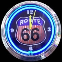 "Route 66 Round Neon Clock 14.5"" – Guaranteed bright and brilliant neon color! Quality neon clocks and neon wall clocks for less. Full 1-5 year no hassle warranty."