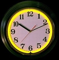 "Black & Yellow Neon Clock 14.5"" – Guaranteed bright and brilliant neon color! Quality neon clocks and neon wall clocks for less. Full 1-5 year no hassle warranty."