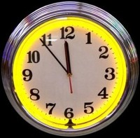 "Chrome Yellow Neon Clock 14.5"" – Guaranteed bright and brilliant neon color! Quality neon clocks and neon wall clocks for less. Full 1-5 year no hassle warranty."