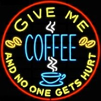 Give Me Coffee Neon Sign – Guaranteed bright and brilliant neon business signs! Our neon business signs feature quality ½ diameter neon glass tubing and whisper quiet UL listed neon business sign transformer. Full 1-5 year no hassle warranty.