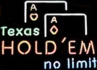 Texas Hold Em Neon Sign – Guaranteed bright and brilliant neon business signs! Our neon business signs feature quality ½ diameter neon glass tubing and whisper quiet UL listed neon business sign transformer. Full 1-5 year no hassle warranty.