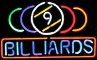 9 Ball Billiards Neon Sign – Guaranteed bright and brilliant neon business signs! Our neon business signs feature quality ½ diameter neon glass tubing and whisper quiet UL listed neon business sign transformer. Full 1-5 year no hassle warranty.