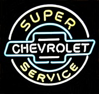 Super Chevrolet Service Neon Sign – Guaranteed bright and brilliant neon bar signs! Our neon bar signs feature quality ½ diameter neon glass tubing and whisper quiet UL listed neon bar sign transformer. Full 1-5 year no hassle warranty.