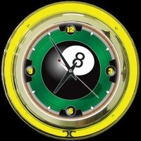 "8-Ball 14"" Double Neon Clock – Guaranteed bright and brilliant neon color! Quality neon clocks and neon wall clocks for less. Full 1-5 year no hassle warranty."