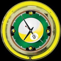 "9-Ball 14"" Double Neon Clock – Guaranteed bright and brilliant neon color! Quality neon clocks and neon wall clocks for less. Full 1-5 year no hassle warranty."