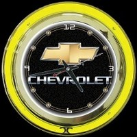"Chevrolet 14"" Double Neon Clock – Guaranteed bright and brilliant neon color! Quality neon clocks and neon wall clocks for less. Full 1-5 year no hassle warranty."