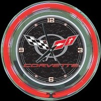 "Corvette C5 14"" Double Neon Clock – Guaranteed bright and brilliant neon color! Quality neon clocks and neon wall clocks for less. Full 1-5 year no hassle warranty."
