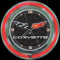 "Corvette C6 14"" Double Neon Clock – Guaranteed bright and brilliant neon color! Quality neon clocks and neon wall clocks for less. Full 1-5 year no hassle warranty."