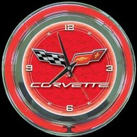 "Corvette C6 Red 14"" Neon Clock – Guaranteed bright and brilliant neon color! Quality neon clocks and neon wall clocks for less. Full 1-5 year no hassle warranty."
