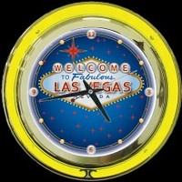 "Las Vegas 14"" Double Neon Clock – Guaranteed bright and brilliant neon color! Quality neon clocks and neon wall clocks for less. Full 1-5 year no hassle warranty."