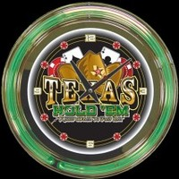 "Texas Hold'em 14"" Double Neon Clock – Guaranteed bright and brilliant neon color! Quality neon clocks and neon wall clocks for less. Full 1-5 year no hassle warranty."