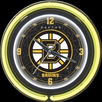 "Boston Bruins 14"" Double Neon Clock – Guaranteed bright and brilliant neon color! Quality neon clocks and neon wall clocks for less. Full 1-5 year no hassle warranty."