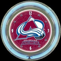 "Colorado Avalanche 14"" Neon Clock – Guaranteed bright and brilliant neon color! Quality neon clocks and neon wall clocks for less. Full 1-5 year no hassle warranty."