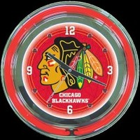 "Chicago Blackhawks 14"" Neon Clock – Guaranteed bright and brilliant neon color! Quality neon clocks and neon wall clocks for less. Full 1-5 year no hassle warranty."