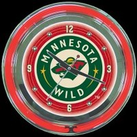 "Minnesota Wild 14"" Neon Clock – Guaranteed bright and brilliant neon color! Quality neon clocks and neon wall clocks for less. Full 1-5 year no hassle warranty."